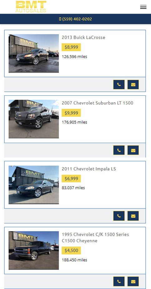 dealer mobile page example