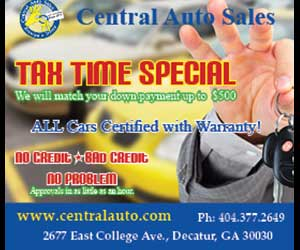 central auto sales tax time special will match down payment up to $500