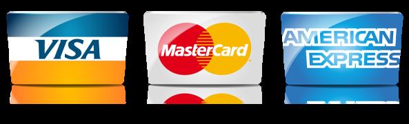 accepted credit cards visa, masercard, american express